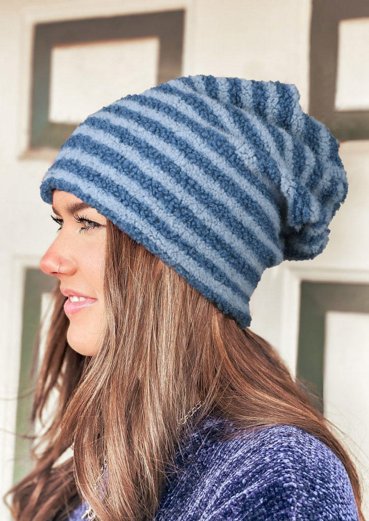 Striped Bonnet Beanie Hat
