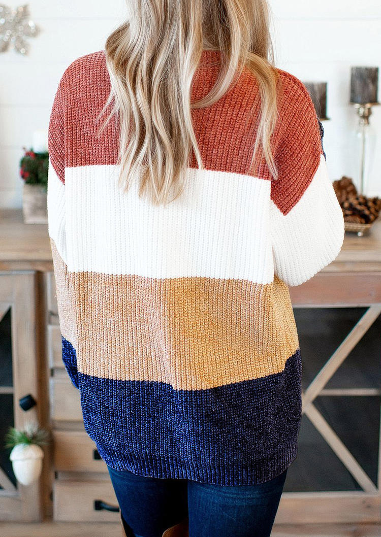 Color Block LongSleeve O-Neck Sweater