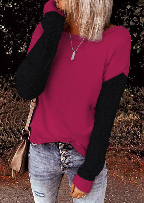 Color Block Twist Long Sleeve Blouse - Rose Red