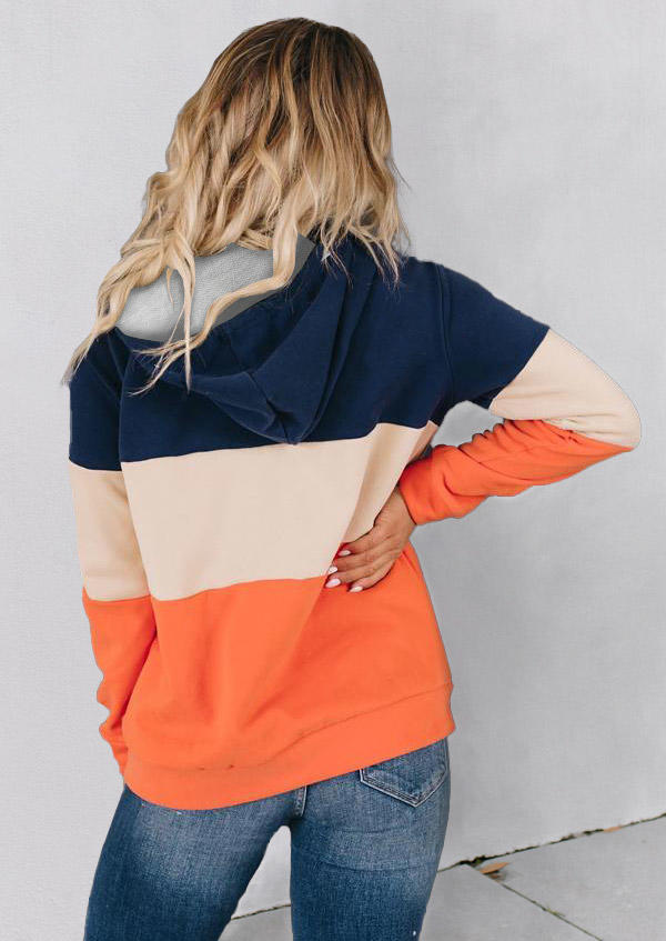 Color Block Pocket Drawstring Hooded Coat
