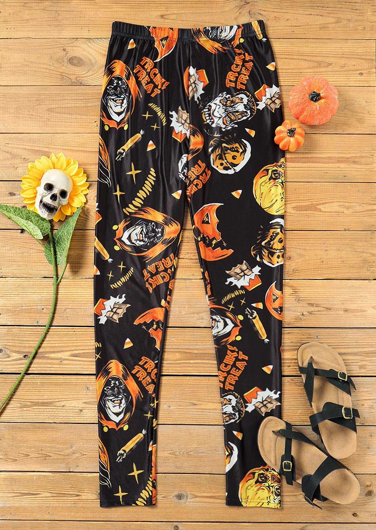 Halloween Skull Trick Treat Leggings - Black