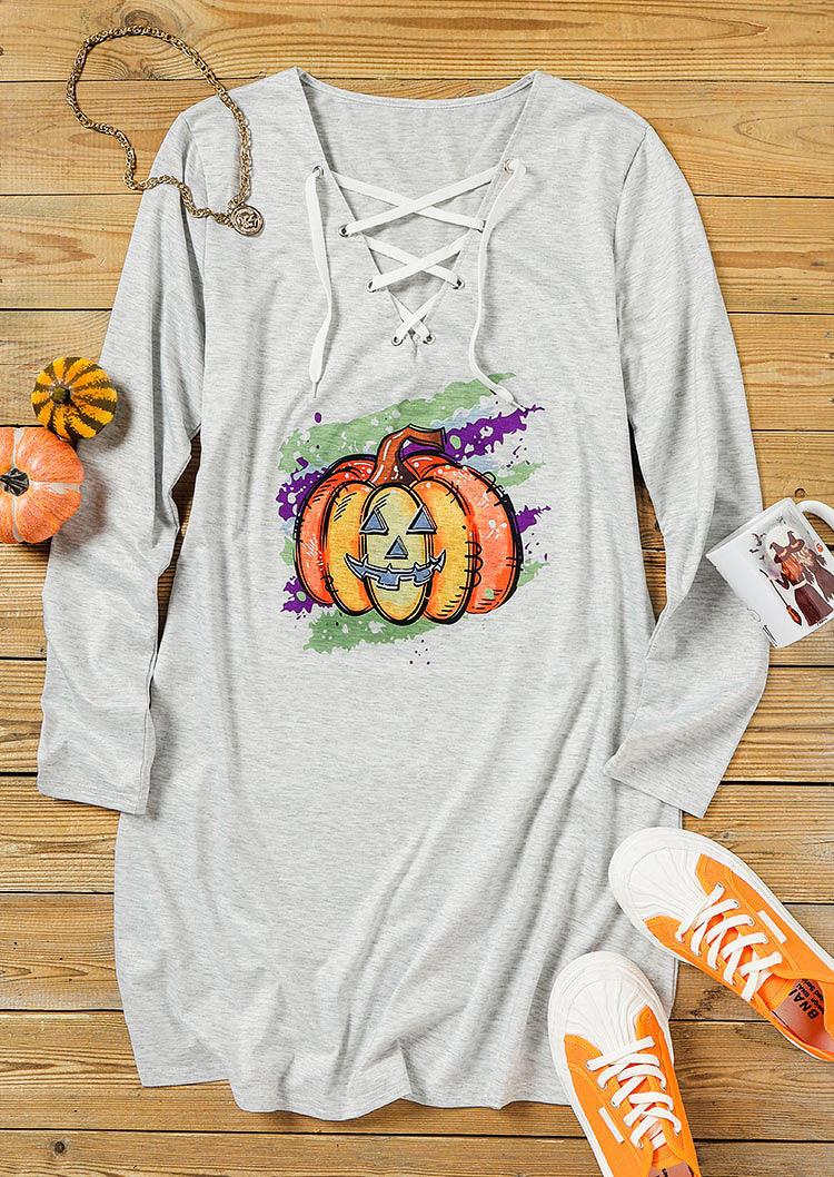 Halloween Lace Up Pumpkin Mini Dress - Light Grey