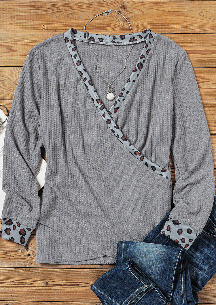Wrap Leopard Splicing Knitted Sweater - Gray