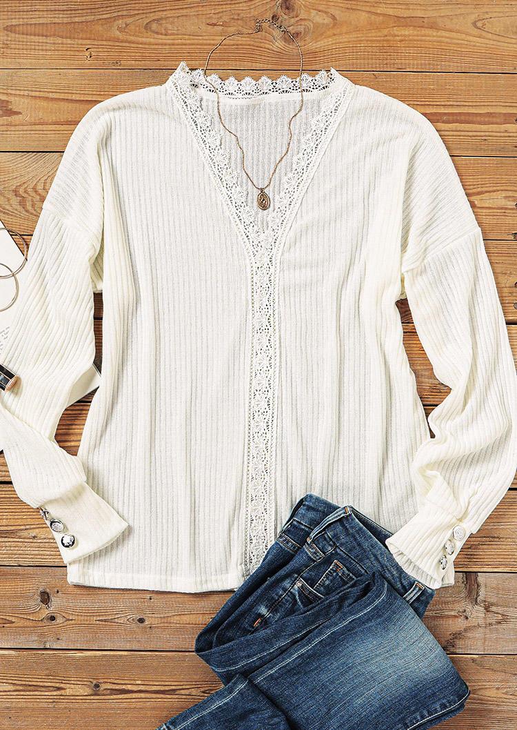 Lace Splicing Button V-Neck Sweater - White