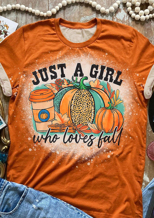 Just A Girl Who Loves Fall Pumpkin T-Shirt Tee - Orange