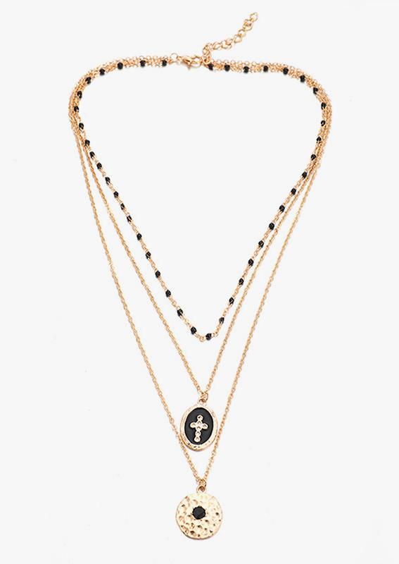 Cross Disc Multi-Layered Pendant Necklace