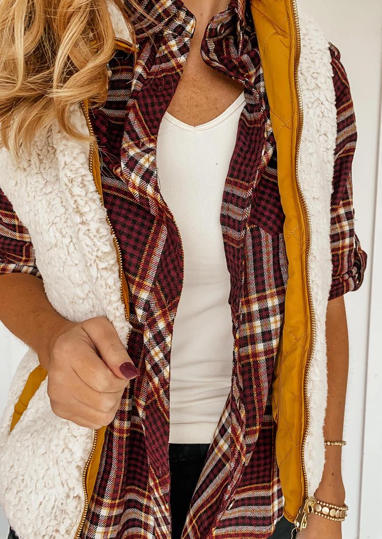 Plaid Button Pocket LongSleeve Turn-down Collar Shirt