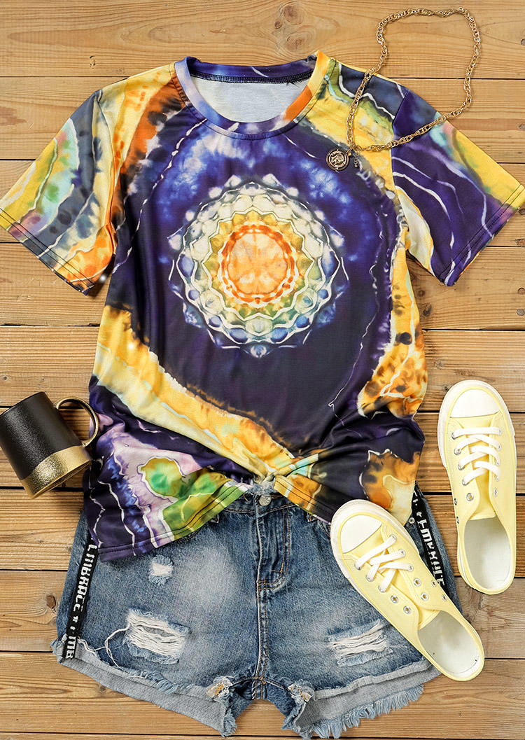 Mandala Tie Dye Bohemian T-ShirtTee