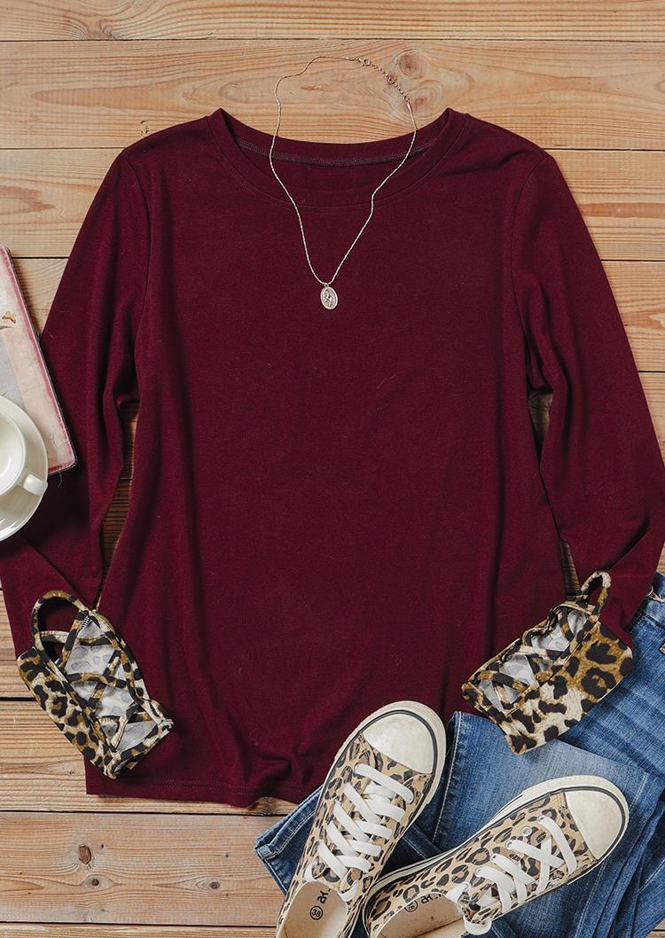 Leopard Criss-Cross Long Sleeve Blouse - Burgundy