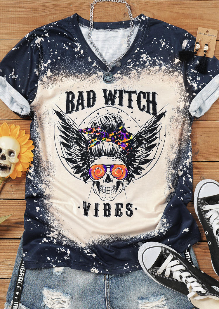 Halloween Bad Witch Vibes Bleached Skull T-ShirtTee - Gray