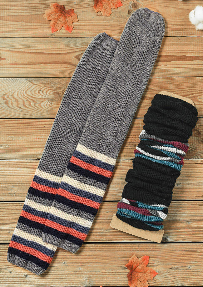 Colorful Striped Splicing Thigh-High Crimping Socks