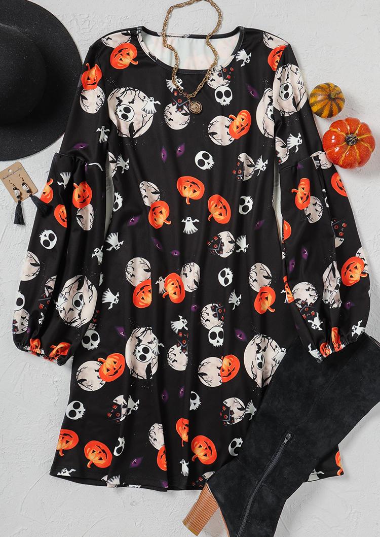 Halloween Pumpkin Skull Ghost Mini Dress - Black