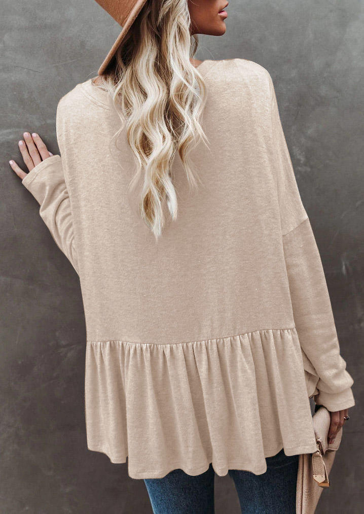 Ruffled Knitted Button V-Neck Blouse - Apricot