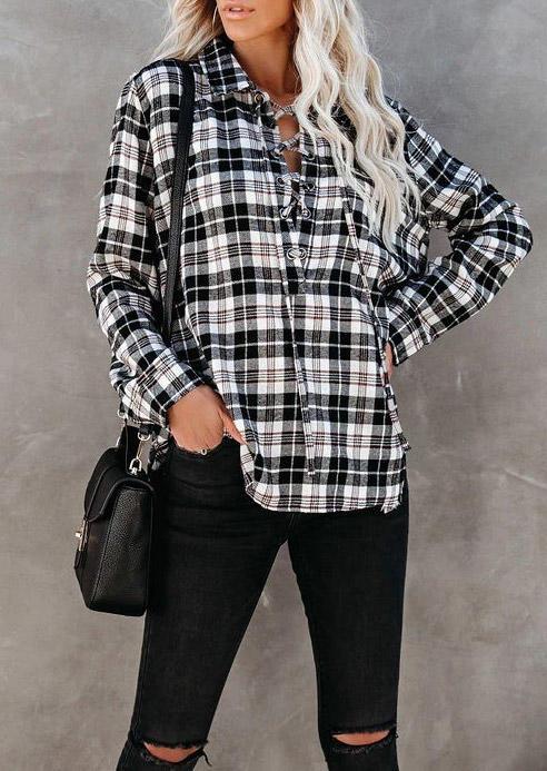 Lace Up Plaid LongSleeve Turn-down Collar Shirt