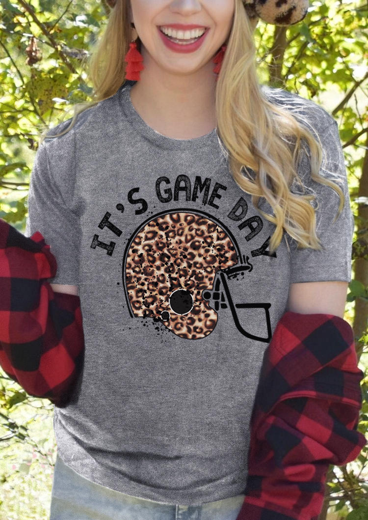 It's Game Day Football Leopard T-ShirtTee - Gray