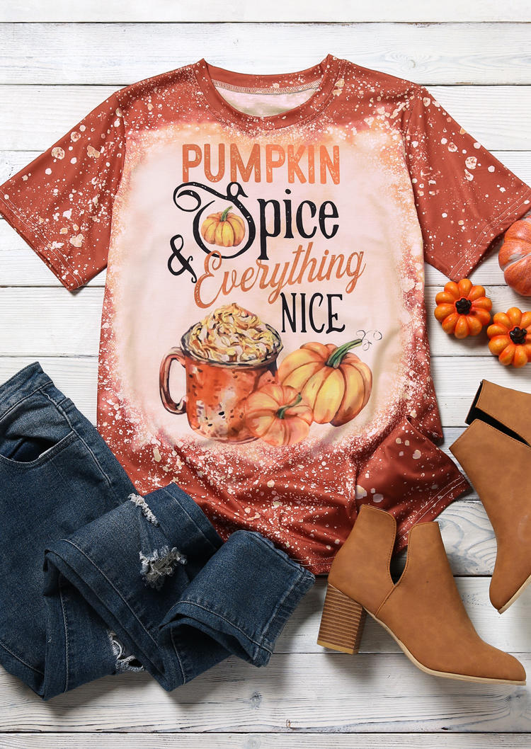 Pumpkin Spice & Everything Nice T-ShirtTee - Orange
