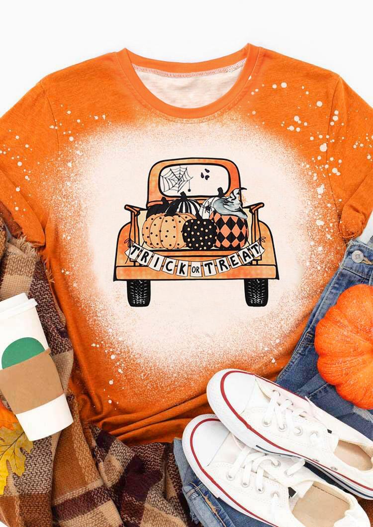 Halloween Trick Or Treat Pumpkin Ghost T-ShirtTee - Orange