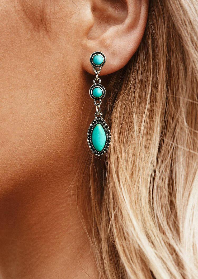 Bohemian Turquoise Long Stud Earrings