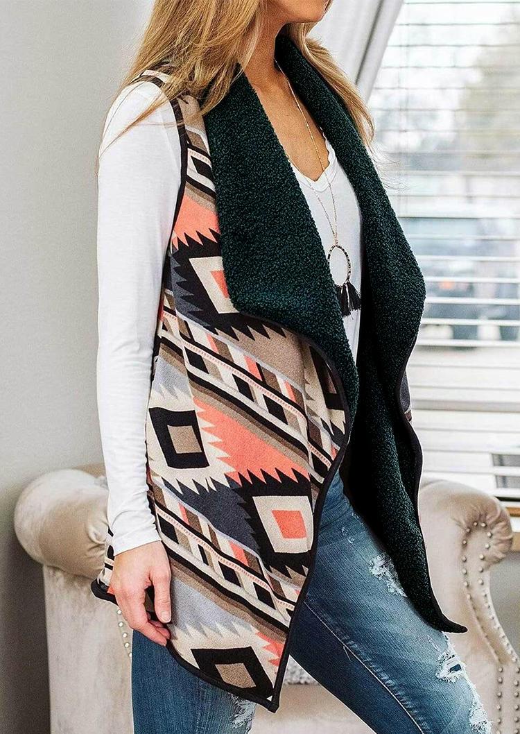 AztecGeometric Turn-down Collar Sleeveless Vest Coat