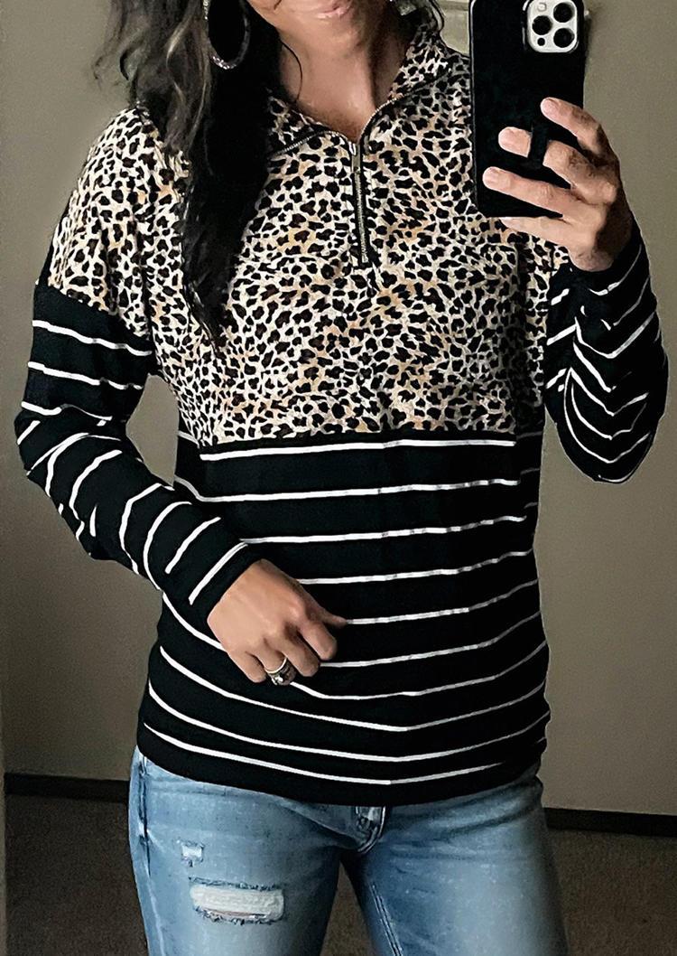 Leopard Striped Zipper Sweatshirt