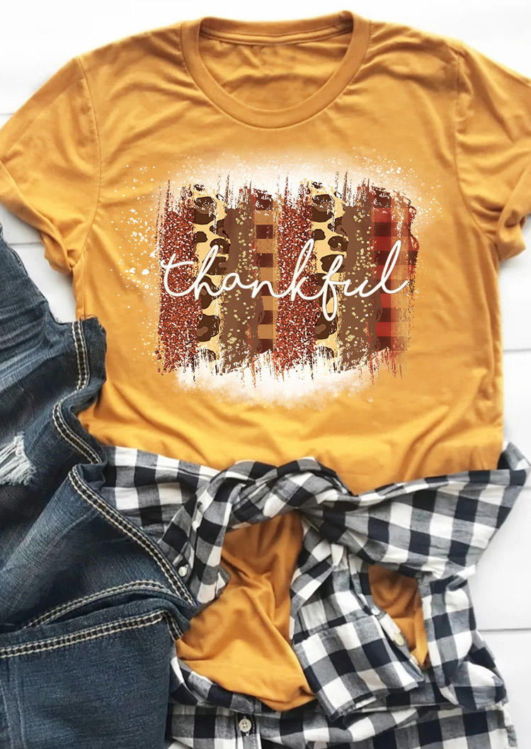 Thankful Leopard Plaid Bleached T-ShirtTee - Yellow