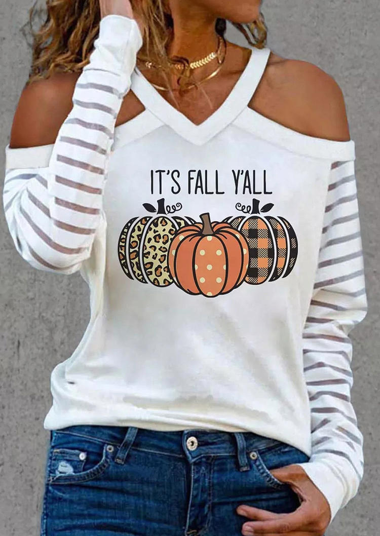 It's Fall Y'all Leopard Plaid Pumpkin Cold Shoulder Blouse - White