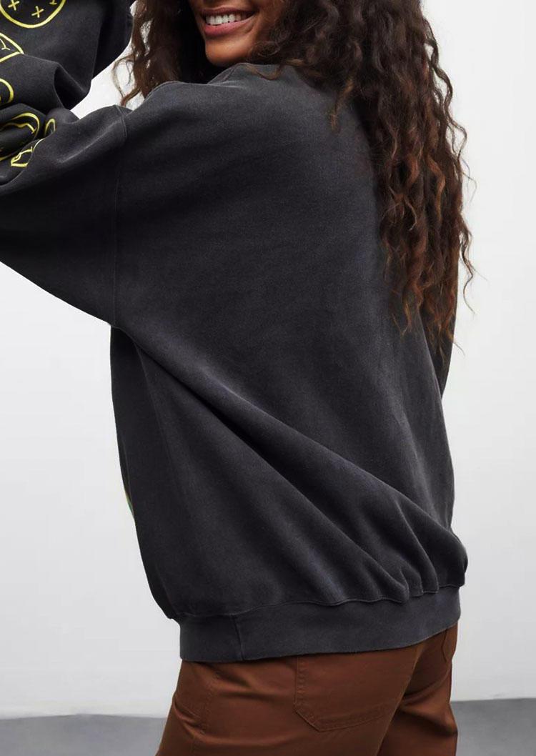 Smiley Happy Face Pullover Sweatshirt - Gray