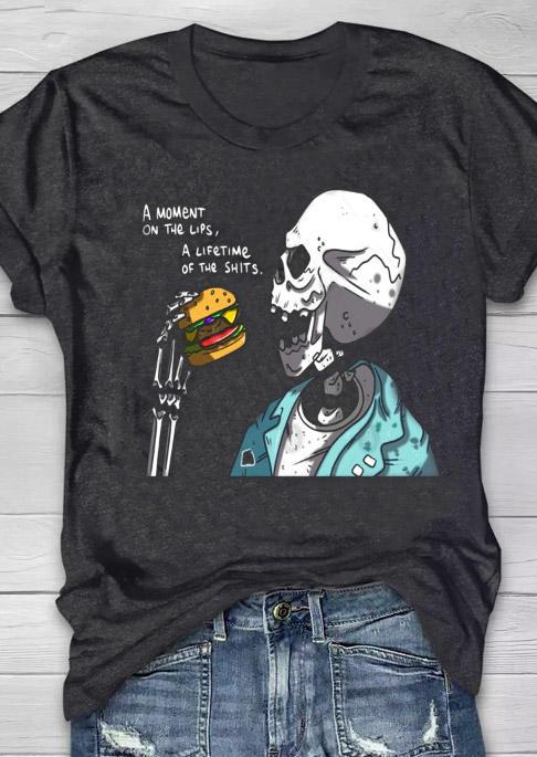 Halloween Skeleton Graphic T-Shirt Tee - Black