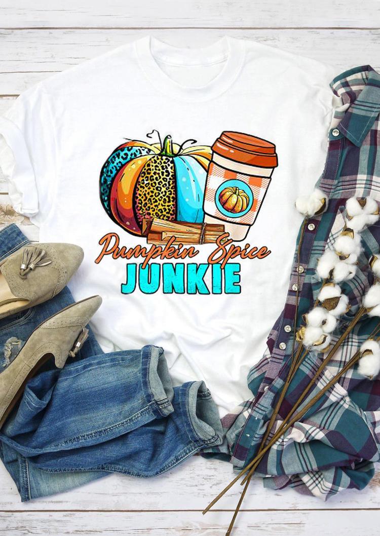 Pumpkin Spice Junkie Leopard Plaid T-ShirtTee - White