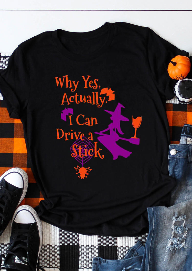 I Can Drive A Stick Witch Spider T-ShirtTee - Black
