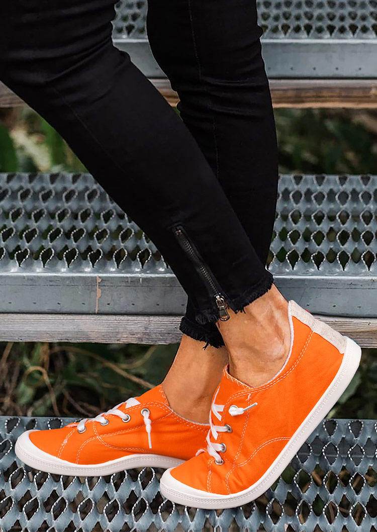 Lace Up Round Toe Flat Sneakers - Orange
