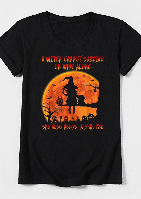 Halloween A Witch Cannot Survive T-Shirt Tee - Black