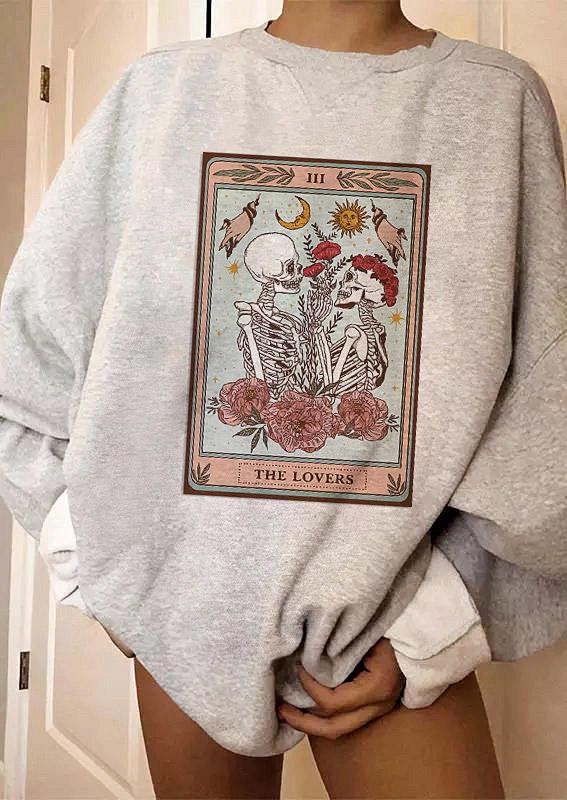 Halloween Tarot Skeleton Pullover Sweatshirt - Light Grey