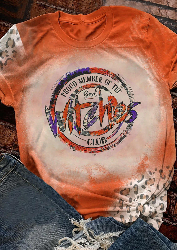 Bad Witches Club Leopard Bleached T-ShirtTee - Orange