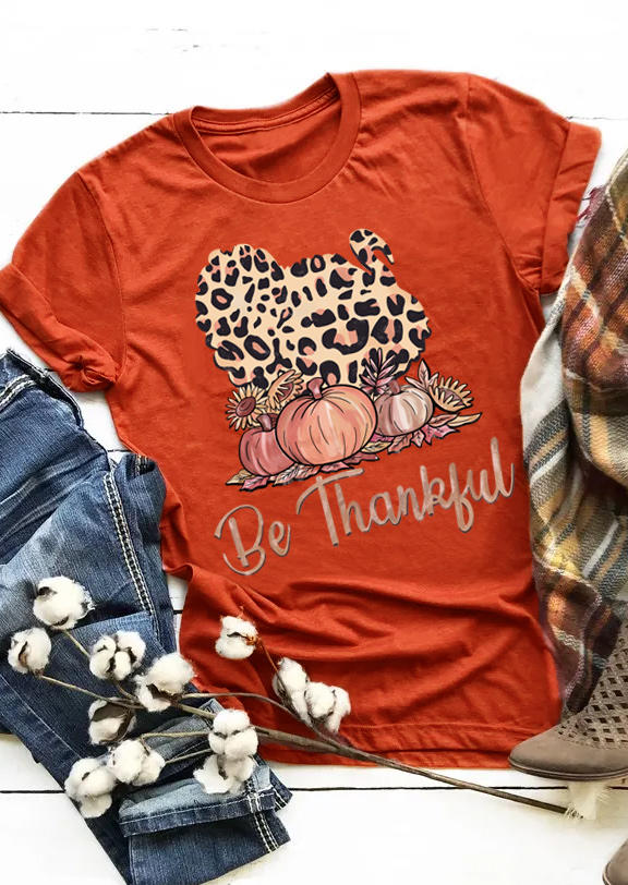 Be Thankful Leopard Pumpkin Sunflower T-ShirtTee - Brick Red