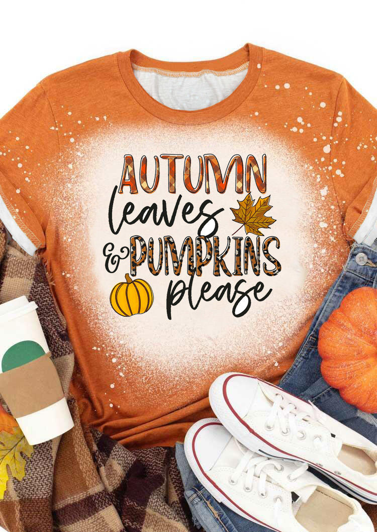 Autumn Leaves And Pumpkins Please T-ShirtTee - Orange