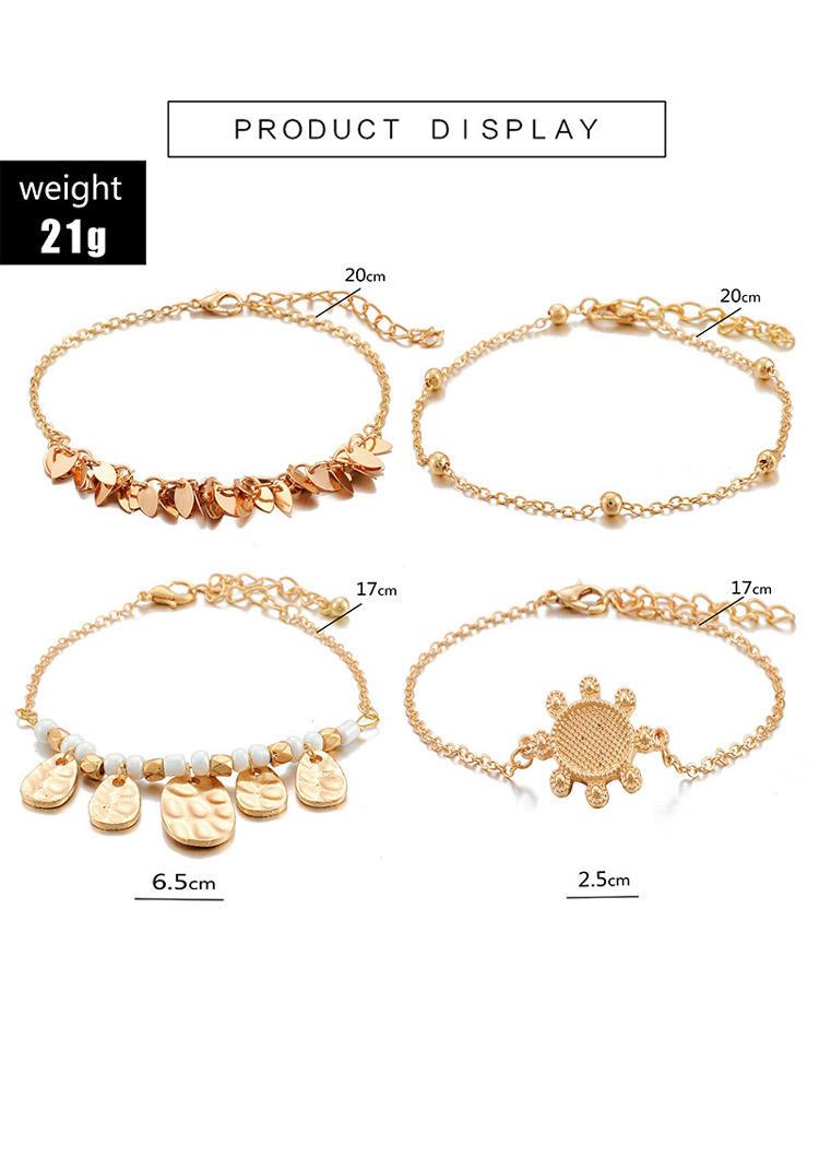 4Pcs Bohemian Beading Leaf Alloy Bracelet Set
