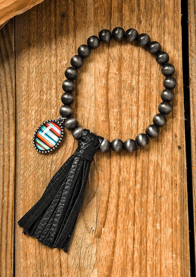 Serape Striped Beading Tassel Bracelet - Black