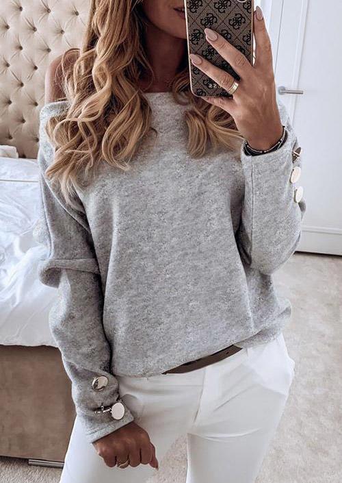 Button Off Shoulder Long Sleeve Blouse - Light Grey