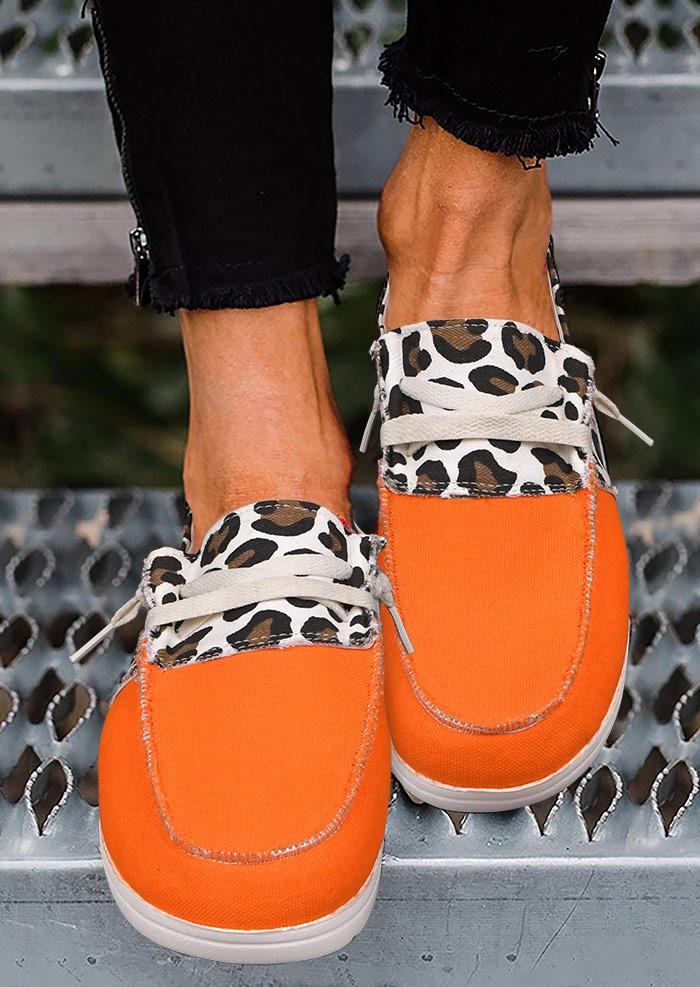 Leopard Color Block Slip On Flat Sneakers - Orange