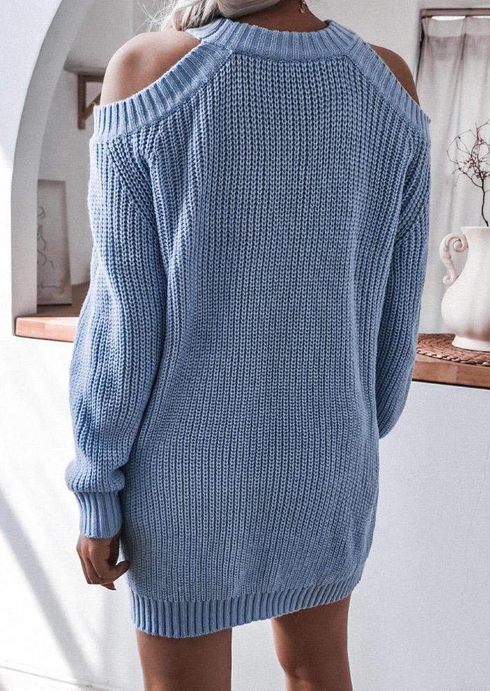 Cold Shoulder O-Neck Sweater Mini Dress - Sky Blue