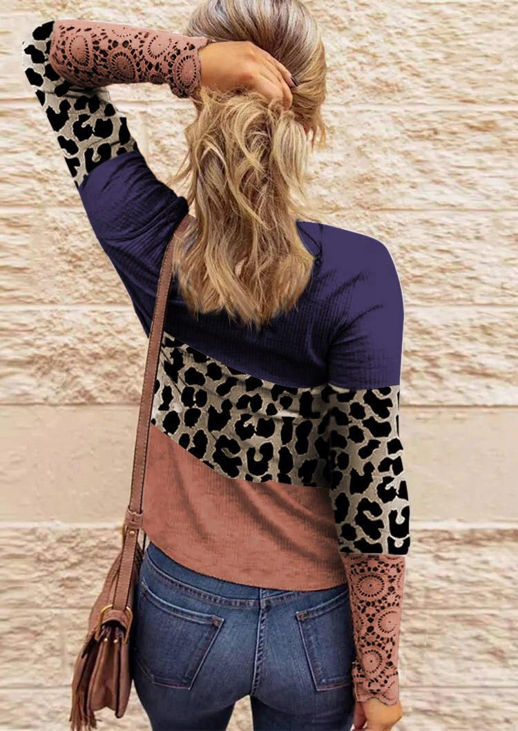 Lace Leopard Splicing Color Block Button Blouse