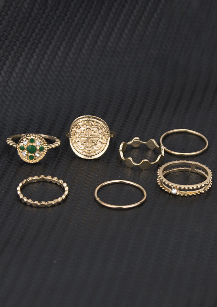 7Pcs Vintage Rhinestone Geometric Alloy Ring Set