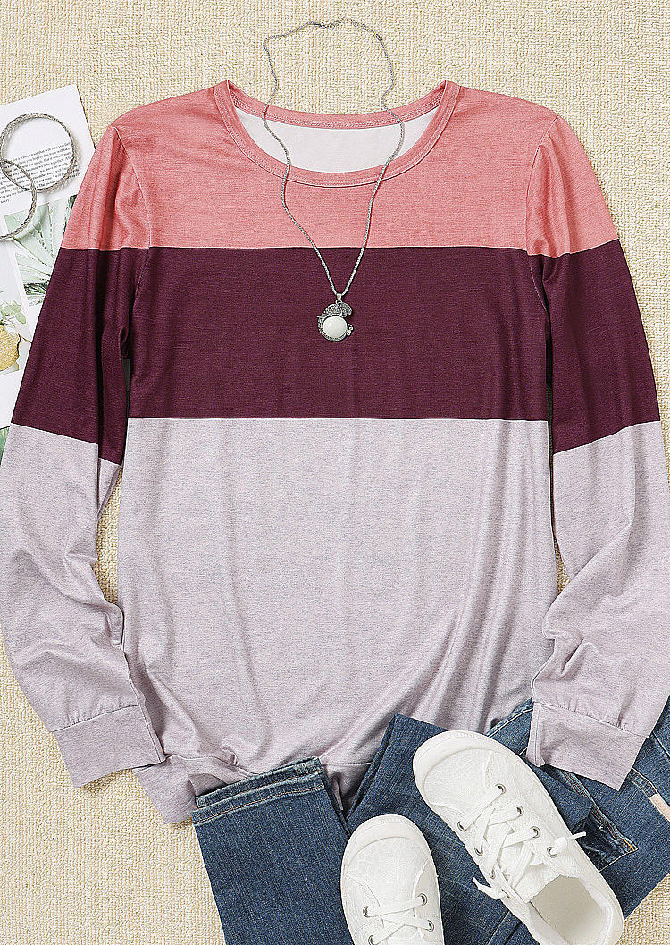 Striped Color Block Long Sleeve Blouse
