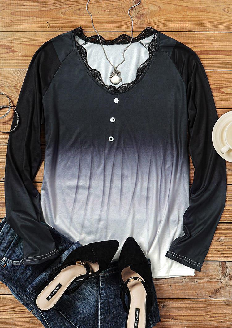 Lace Gradient Long Sleeve Blouse - Black