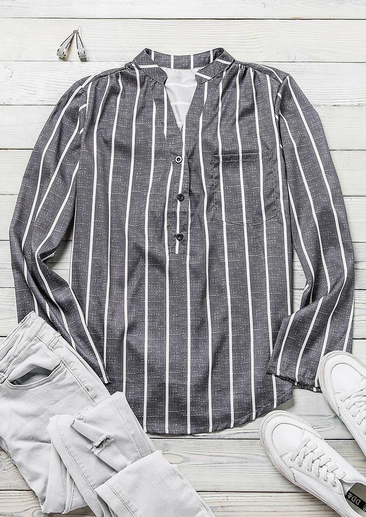 Striped Button Long Sleeve Shirt - Gray