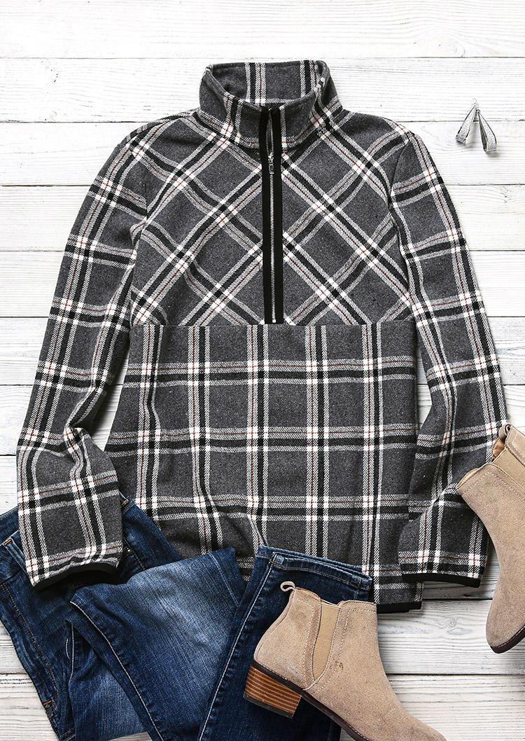 Plaid Long Sleeve Turn-Down Collar Sweatshirt