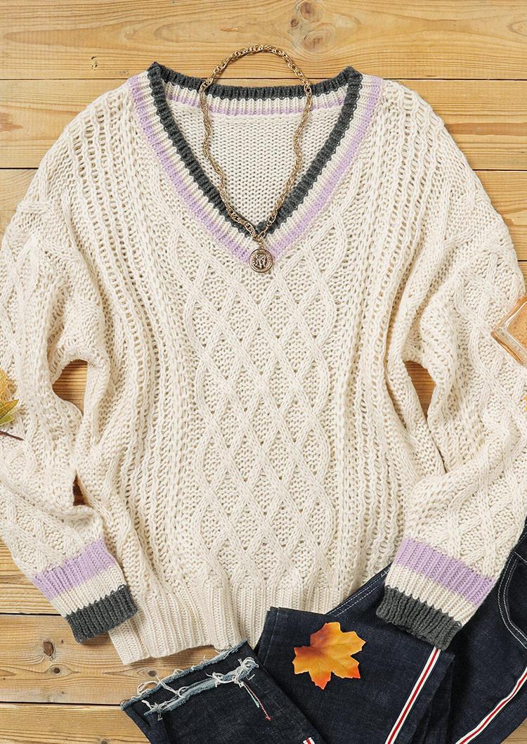 Crochet V-Neck Knitted Sweater - Beige