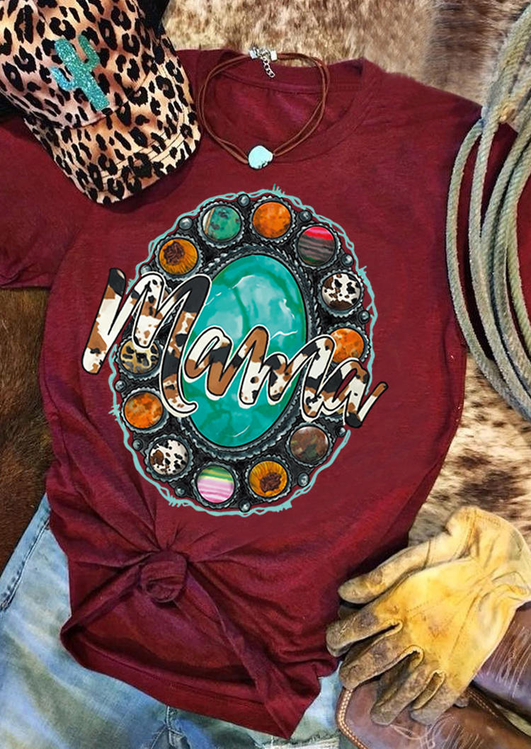 Mama Turquoise Leopard Western T-ShirtTee - Burgundy