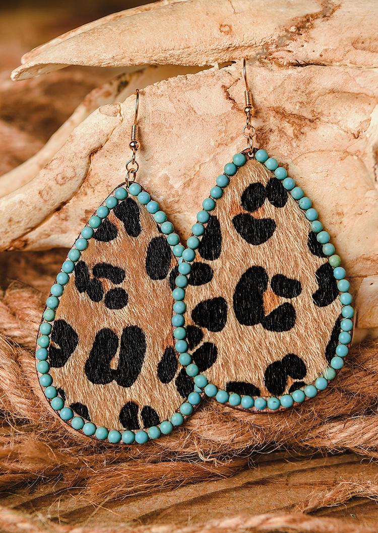 Turquoise Cow Leopard Water Drop Earrings